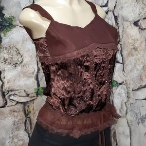 New Limited Too Girls Brown Sequin Top Size 12